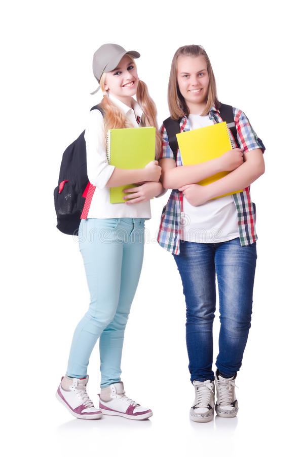 Pair of young students royalty free stock photo