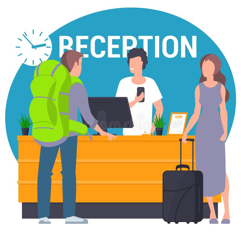 Guests at hostel lobby. Pair of young travellers standing at reception lobby desk talking to receptionist. Guests with travel bag at hostel lobby. Flat design stock illustration
