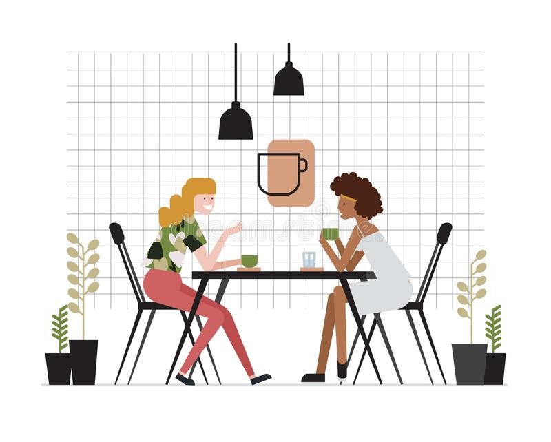 Pair of young women of girlfriends sitting at table, drinking tea and talking. Friendly meeting and conversation at cafe vector illustration