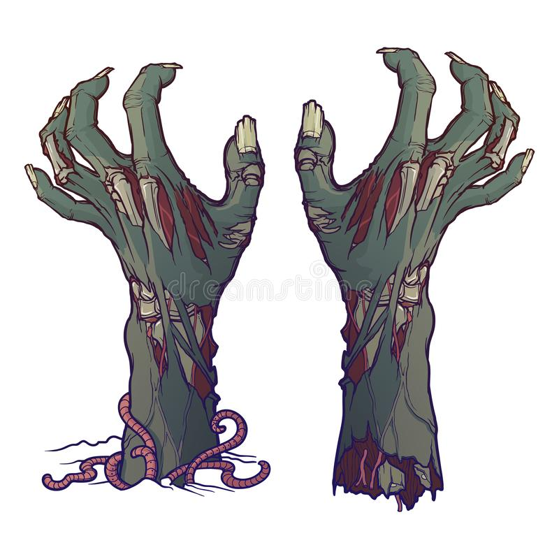 Pair of zombie hands rising from the ground and torn apart. lifelike depiction of the rotting flash with ragged skin. Protruding bones and cracked nails royalty free illustration