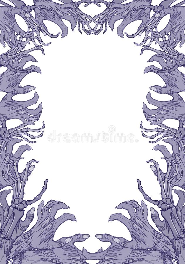 Pair of zombie hands rising from the ground and torn apart. lifelike depiction of the rotting flash with ragged skin. Protruding bones and cracked nails vector illustration
