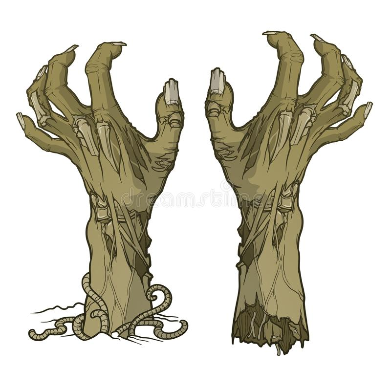 Pair of zombie hands rising from the ground and torn apart. royalty free stock photography