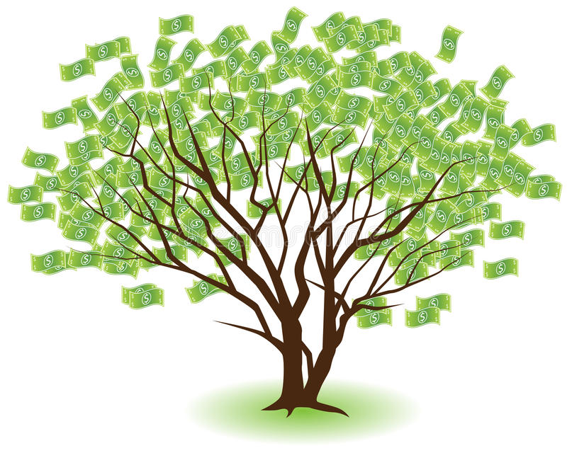 Paired Money Trees vector illustration