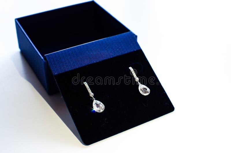 Paires brillantes brillantes de boucles d'oreille faites de diamant et or blanc image libre de droits