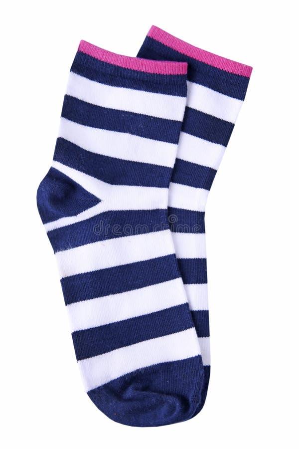 Paires dépouillées de chaussettes d'isolement photo stock