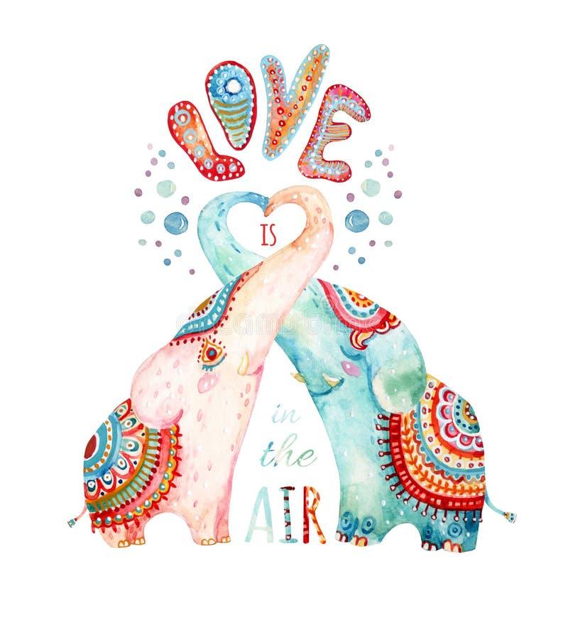 Paires d'aquarelle de beaux éléphants d'isolement sur le fond blanc illustration stock