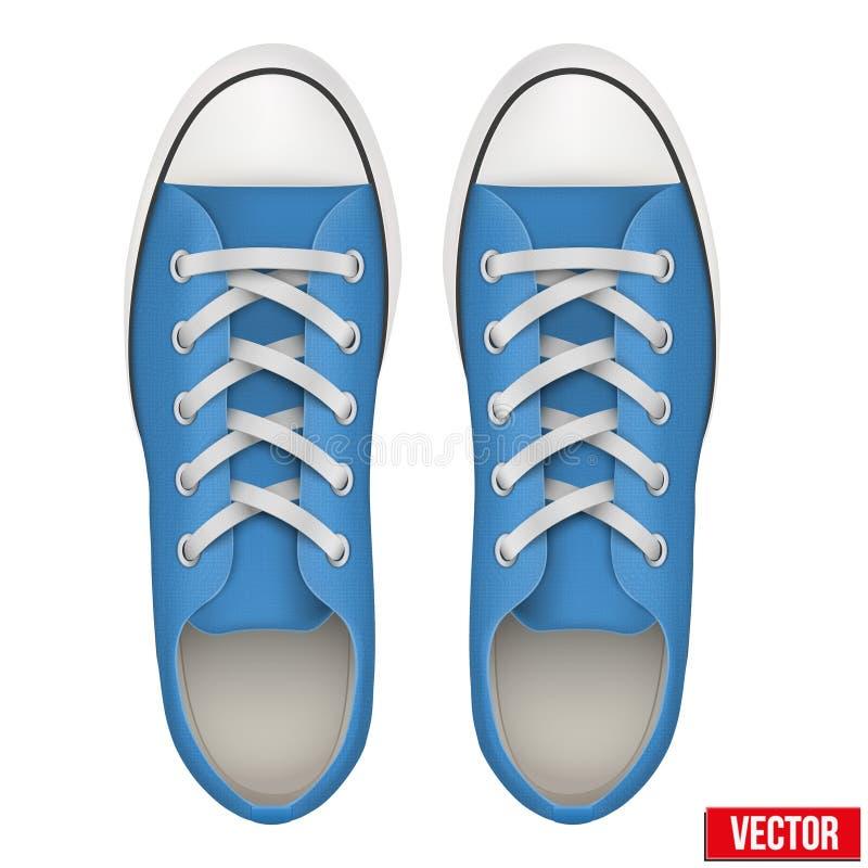 Paires d'espadrilles simples bleues Vecteur réaliste illustration de vecteur