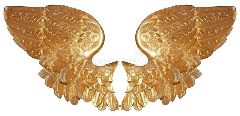 Paires d'isolement d'ailes aureate d'ange photo stock