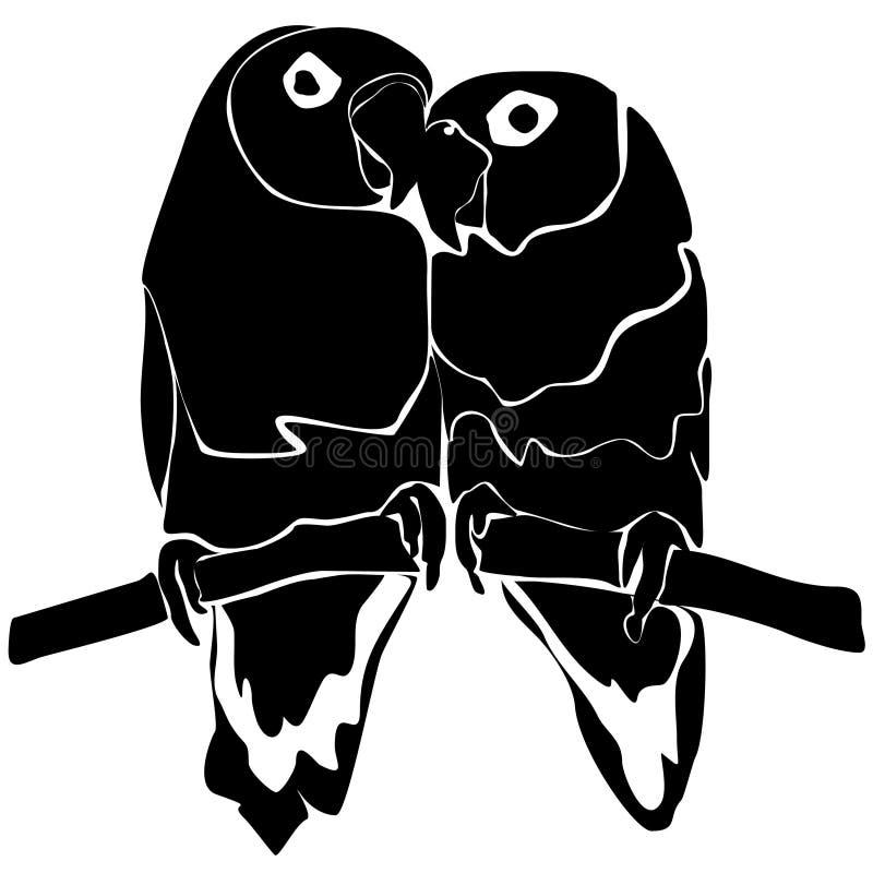 Paires d'oiseaux dans l'amour sur l'arbre Noir d'isolement sur le blanc illustration stock