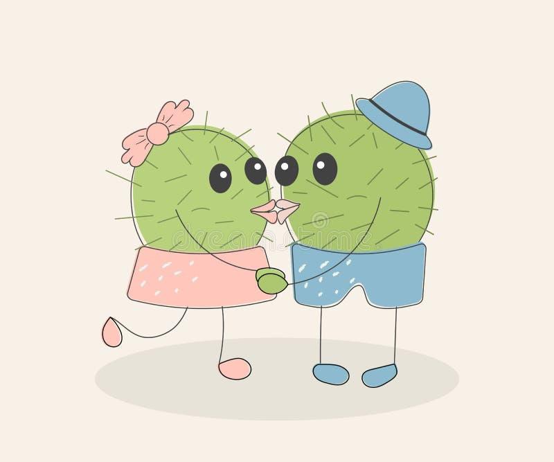 Paires de baiser de cactus mignon naïf simple drôle : fille avec l'arc rose et garçon avec le chapeau bleu Pour la d?coration des illustration libre de droits