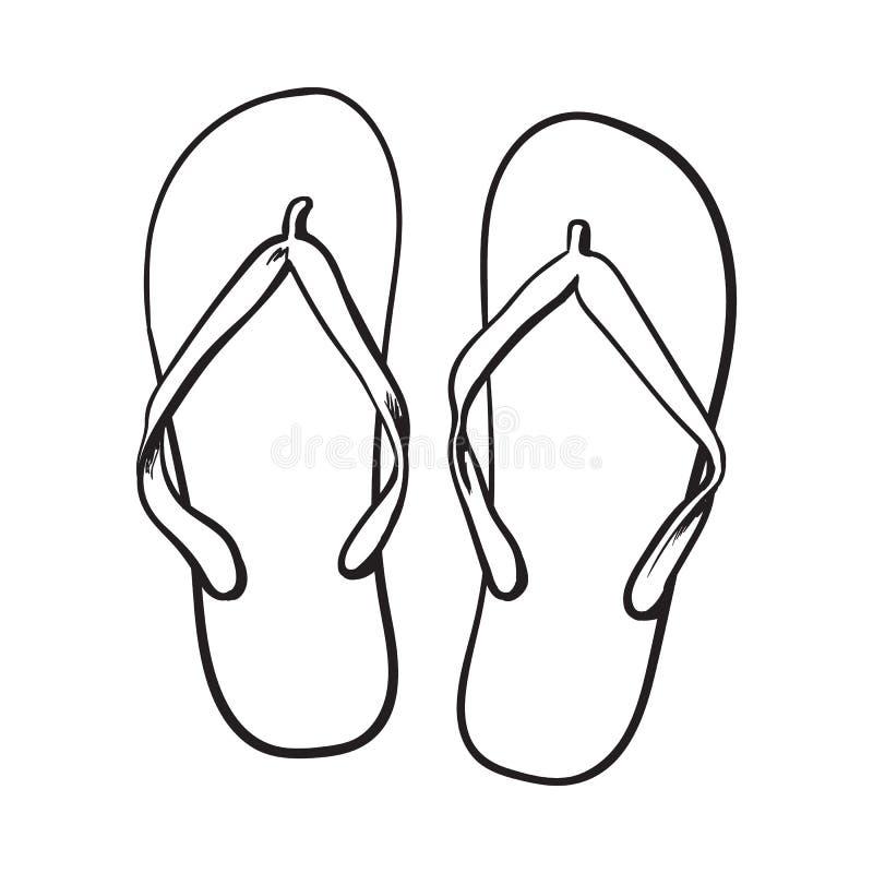 Paires de bascules électroniques, attribut de vacances d'heure d'été, pantoufles, chaussures illustration stock