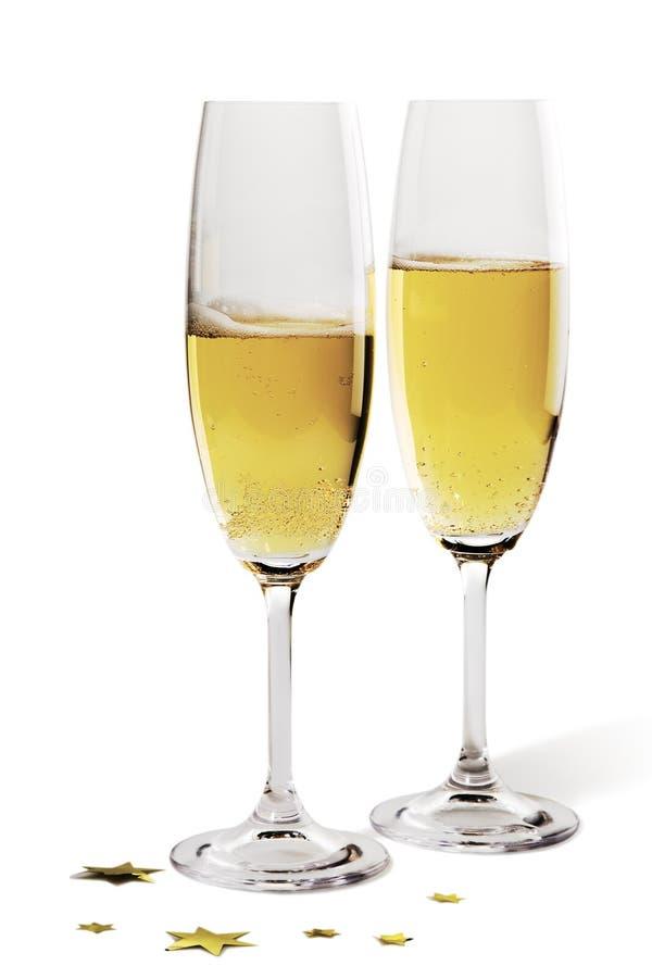 Paires de cannelures de champagne images stock