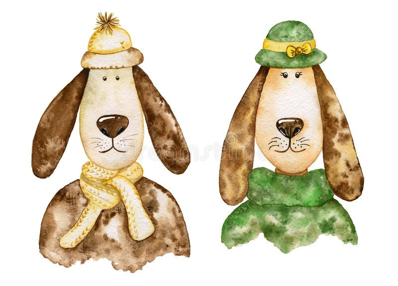 Paires de chiens élégants avec de longues oreilles positionnement d'aquarelle illustration libre de droits