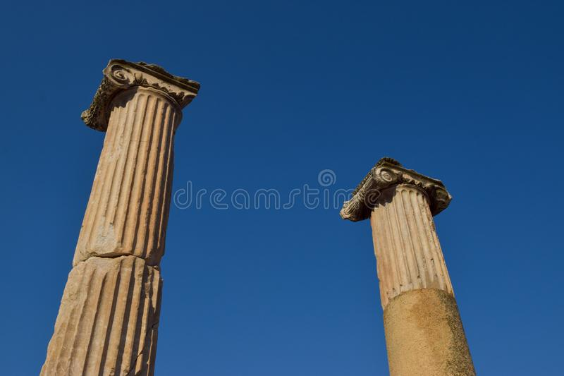 Paires de colonnes lonic grecques photo stock