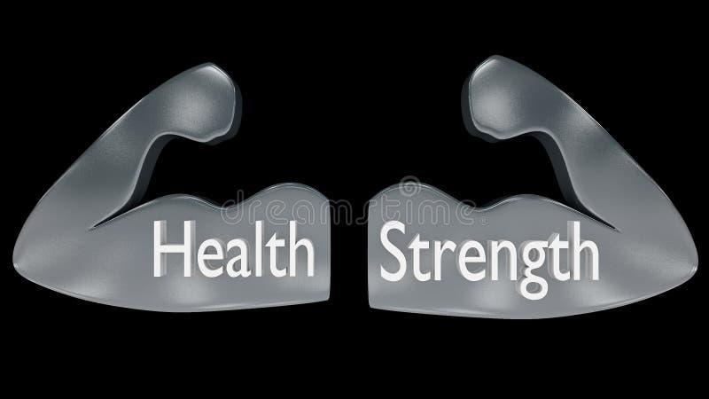 Paires de contours musculaires de bras en métal avec le ` de ` de santé de ` et de force de ` écrit sur eux illustration stock