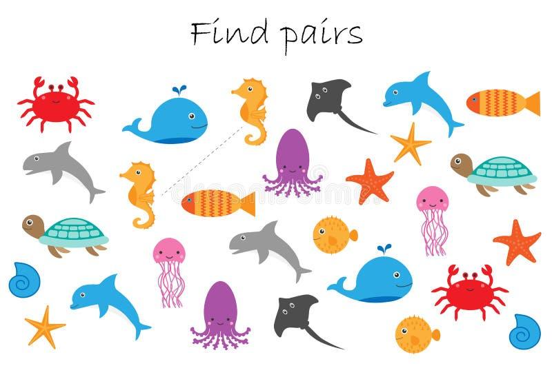 Paires de découverte d'images identiques, jeu d'éducation d'amusement avec différents animaux d'océan pour des enfants, activité  illustration stock