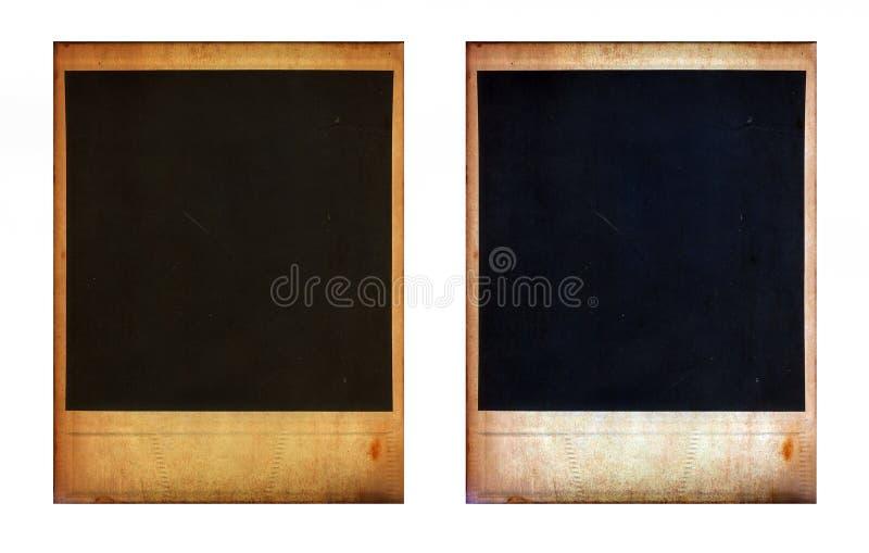 Paires de deux vieux cadres instantanés de photo photographie stock