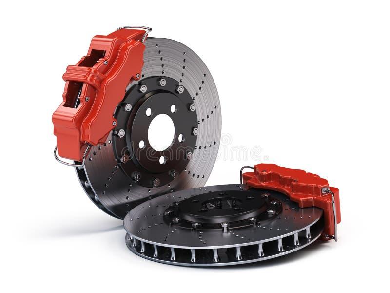 Paires de disques de frein avec des calibres de emballage de sport rouge sur le blanc illustration libre de droits