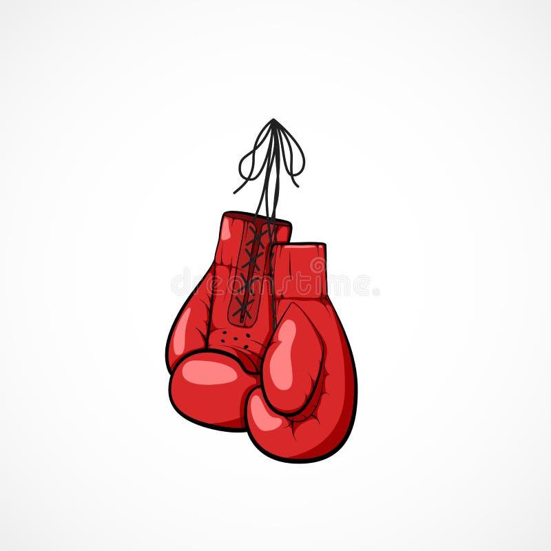 Paires de gantiers tirés par la main rouges de boxeurs sur une ficelle Symbole de gantiers de boxeurs de l'art martial illustration stock