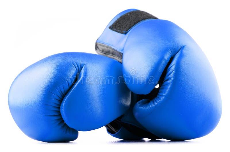 Paires de gants de boxe en cuir bleus sur le blanc images libres de droits