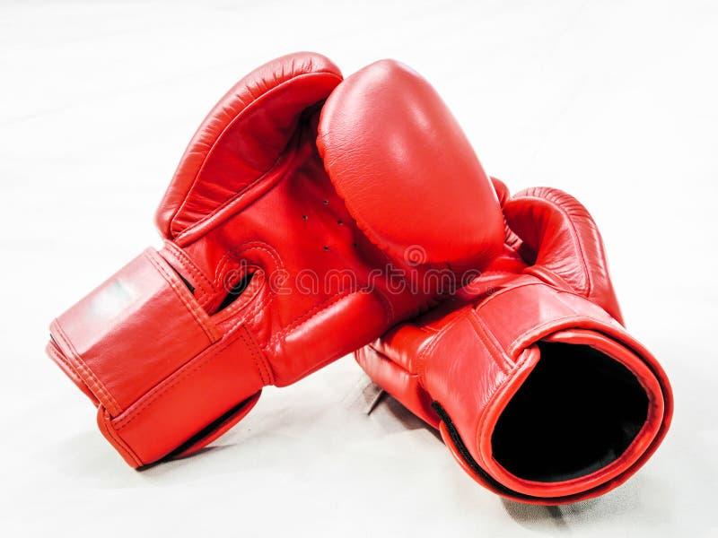 Paires de gants de boxe en cuir rouges d'isolement sur le blanc photographie stock