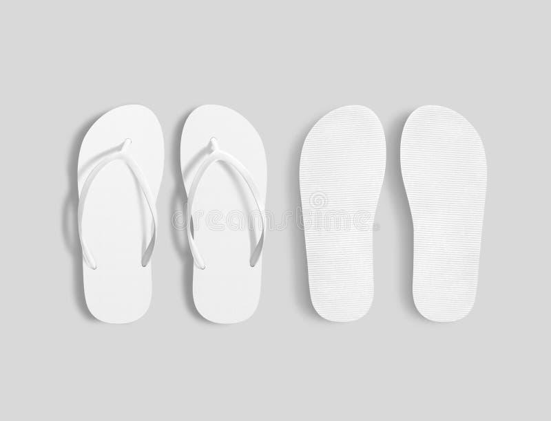 Paires de maquette blanche vide de pantoufles de plage, vue unique supérieure illustration stock