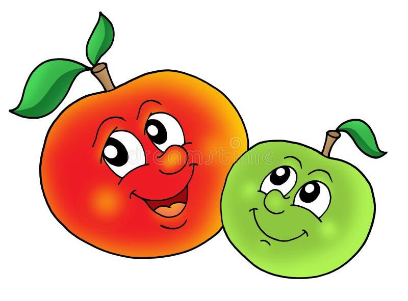 Paires de pommes de sourire illustration de vecteur