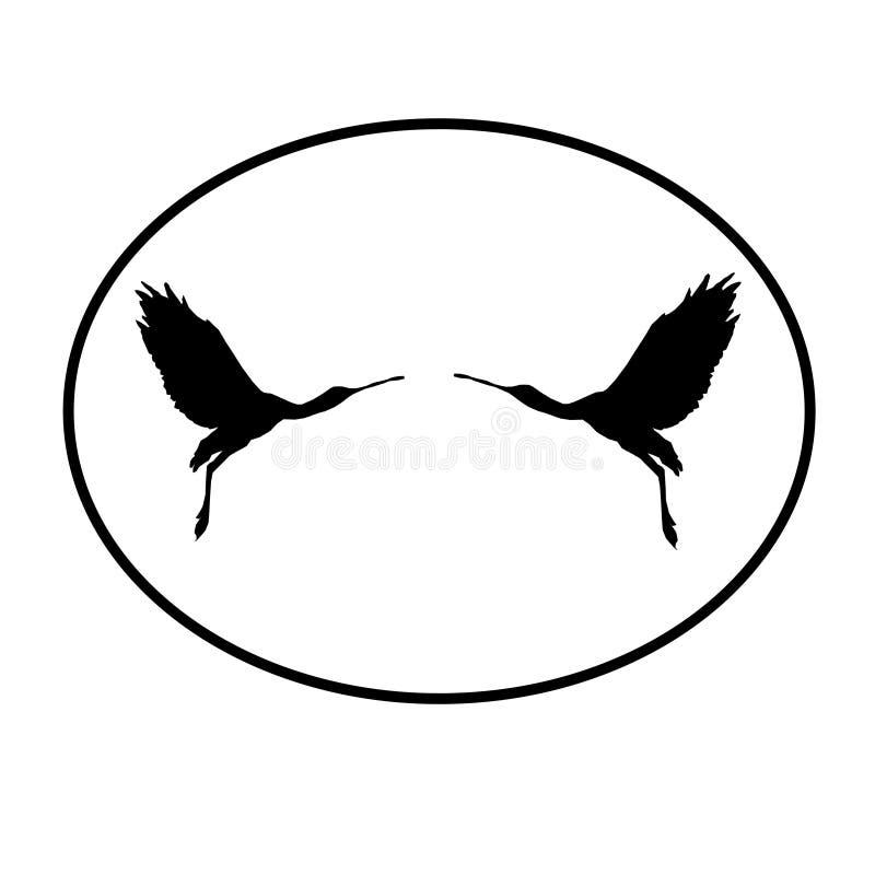 Paires de spatule de Logo Banner Image Flying Bird dans la forme ovale sur le fond blanc illustration stock