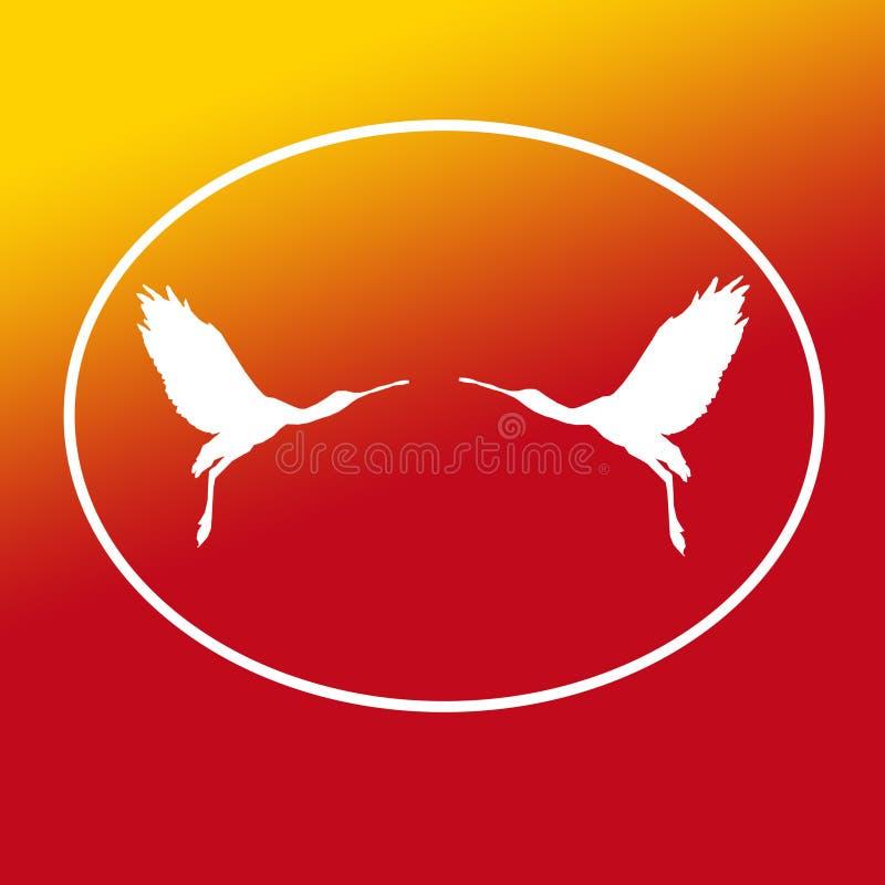 Paires de spatule de Logo Banner Image Flying Bird dans la forme ovale sur le fond jaune-orange illustration stock
