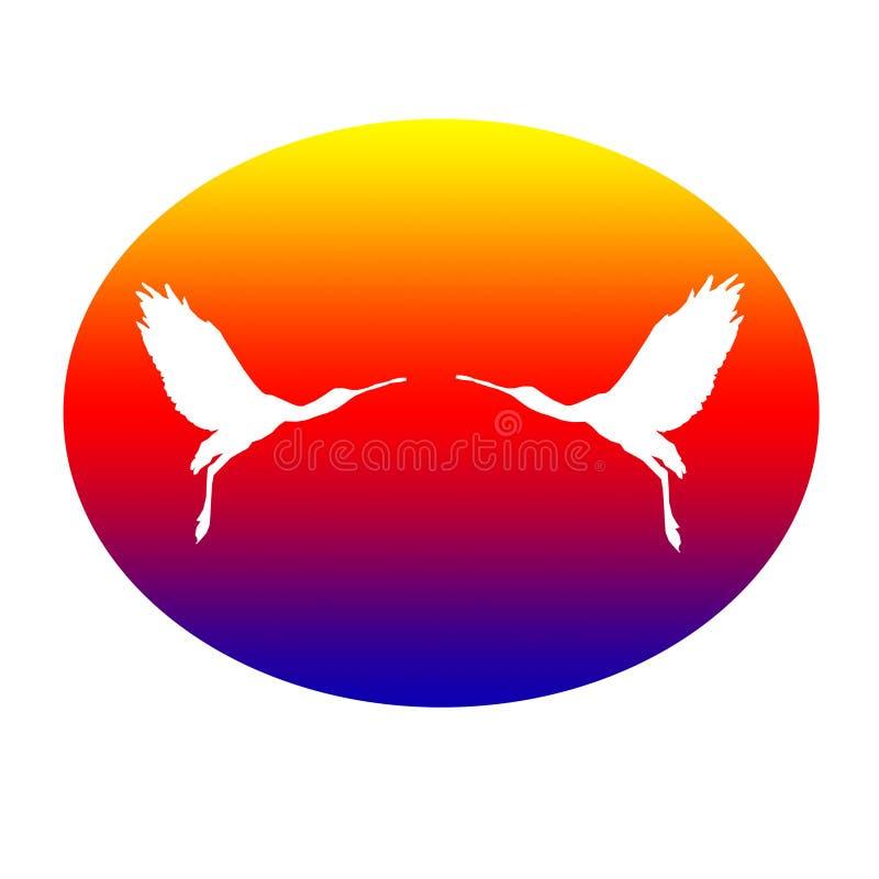 Paires de spatule de Logo Banner Image Flying Bird dans la forme ovale sur le fond jaune rouge bleu illustration libre de droits