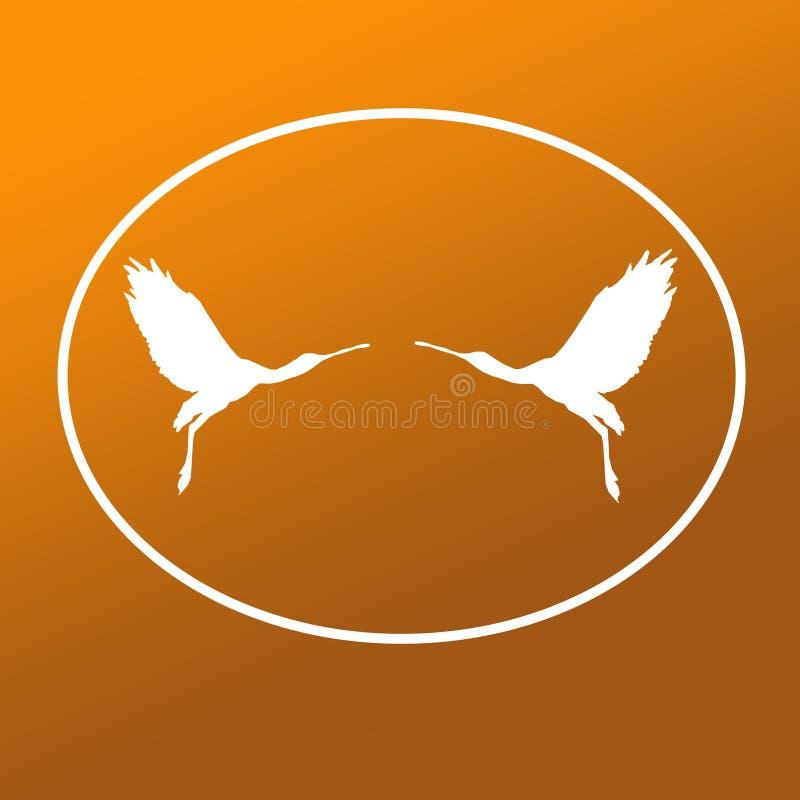 Paires de spatule de Logo Banner Image Flying Bird dans la forme ovale sur le fond kaki de Brown illustration stock