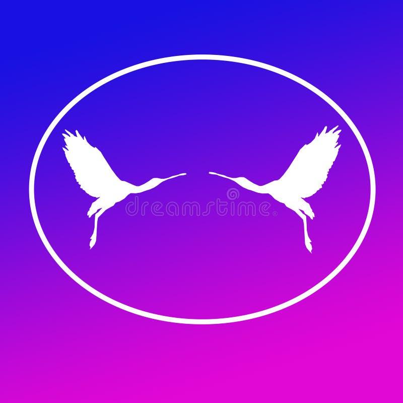 Paires de spatule de Logo Banner Image Flying Bird dans la forme ovale sur le fond magenta bleu illustration libre de droits