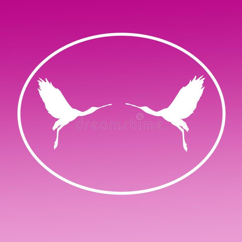 Paires de spatule de Logo Banner Image Flying Bird dans la forme ovale sur le fond magenta illustration libre de droits