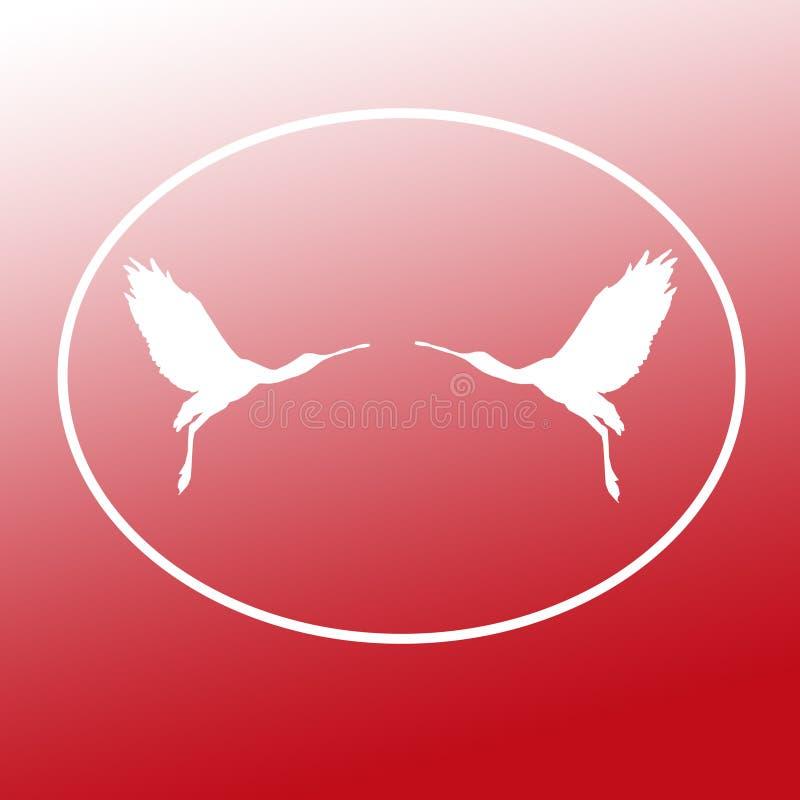 Paires de spatule de Logo Banner Image Flying Bird dans la forme ovale sur le fond rouge illustration stock
