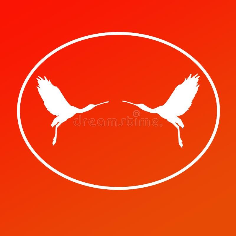 Paires de spatule de Logo Banner Image Flying Bird dans la forme ovale sur le fond rouge illustration de vecteur