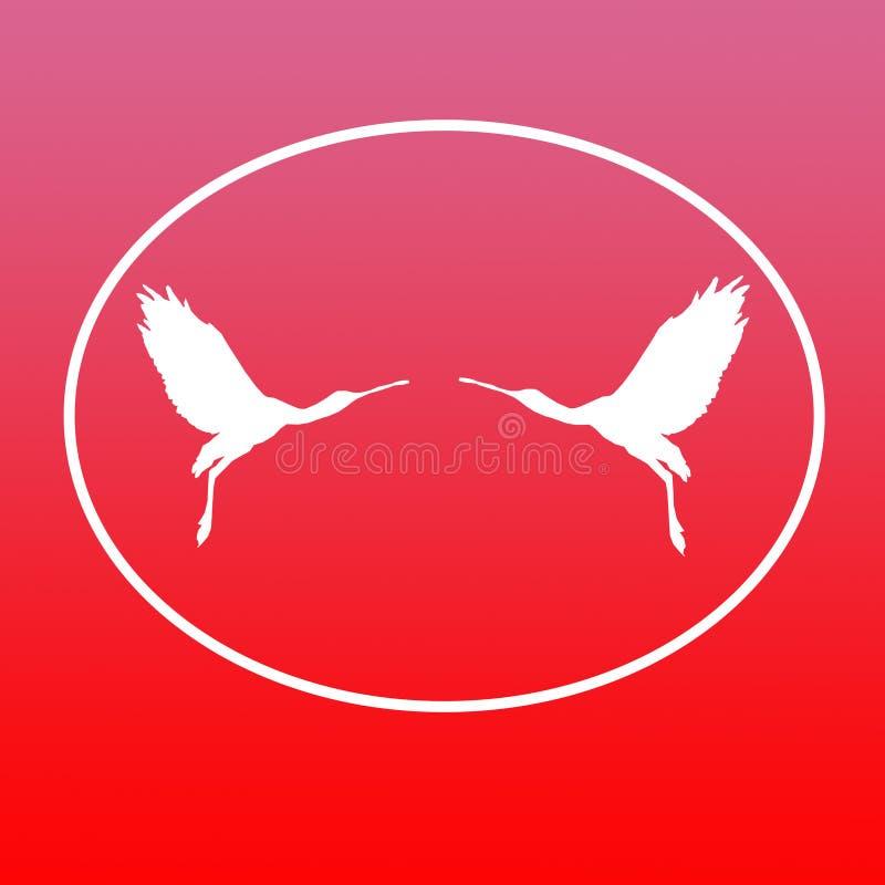 Paires de spatule de Logo Banner Image Flying Bird dans la forme ovale sur le fond rouge illustration libre de droits