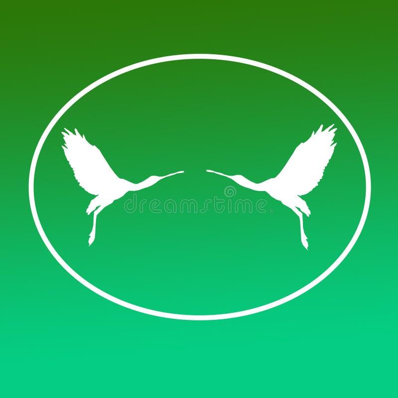 Paires de spatule de Logo Banner Image Flying Bird dans la forme ovale sur le fond vert illustration libre de droits