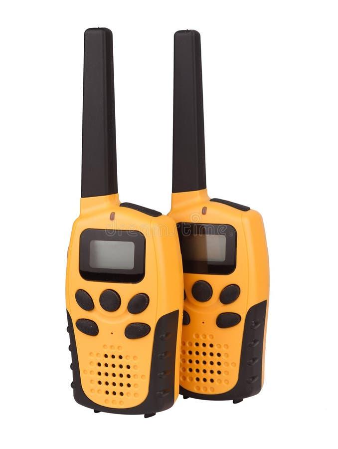 Paires de talkie-walkie jaune d'isolement photo libre de droits