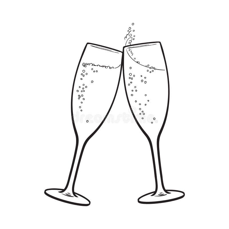 Paires de verres de champagne, pain grillé de vacances illustration stock