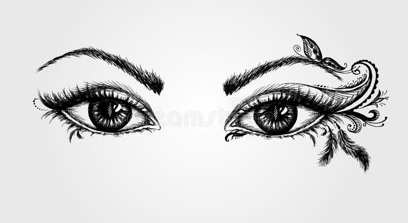 Paires de yeux dessin de main illustration de vecteur - Dessin yeux facile ...