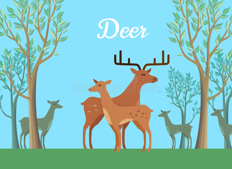 Paires drôles d'illustration de cerfs communs illustration stock