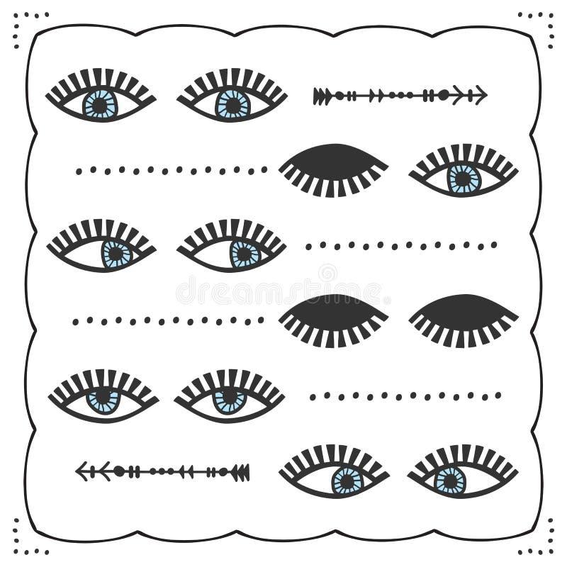 Paires féminines semblantes différentes abstraites bleues de yeux avec la carte d'ensemble d'icônes de mèches illustration stock