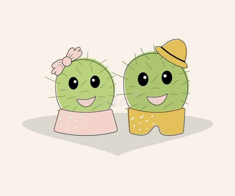 Paires mignonnes naïves simples drôles de cactus : fille avec l'arc rose et garçon avec le chapeau jaune Pour la décoration des T illustration de vecteur