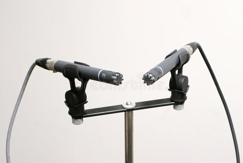 Paires stéréo de microphone photographie stock libre de droits