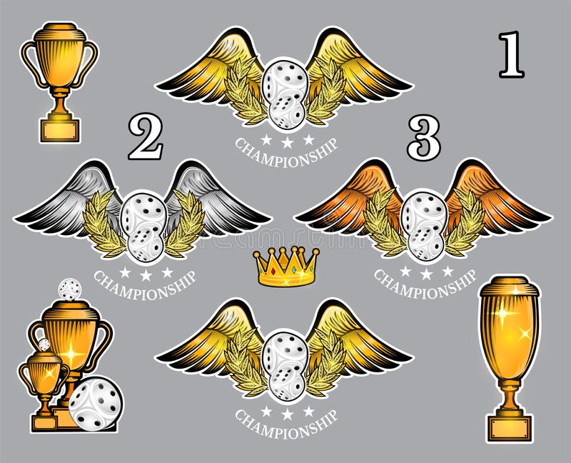 Pairs of dice with wings cups and crown. Vector set of casino or board game logo for any team stock illustration