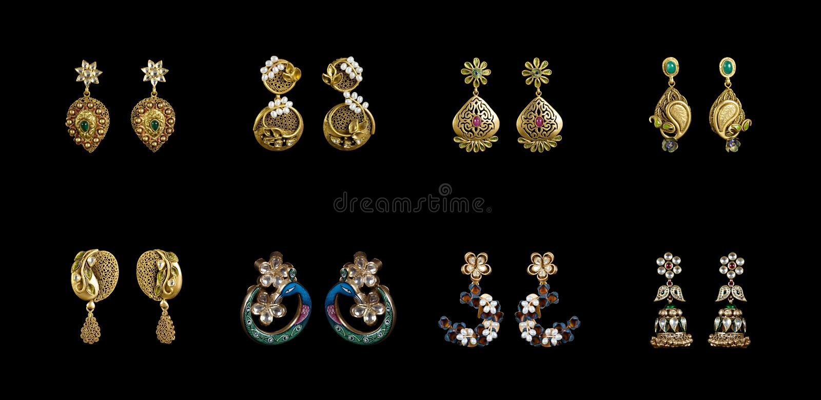 Pairs of earrings royalty free stock photos