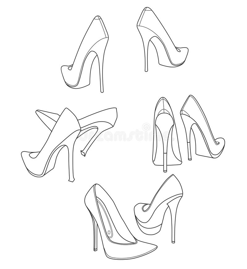 4 pairs of graceful stiletto high heel women shoes. Line drawing. Illustration royalty free illustration