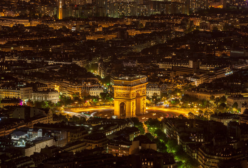 Paris by Night- Aerial View stock images