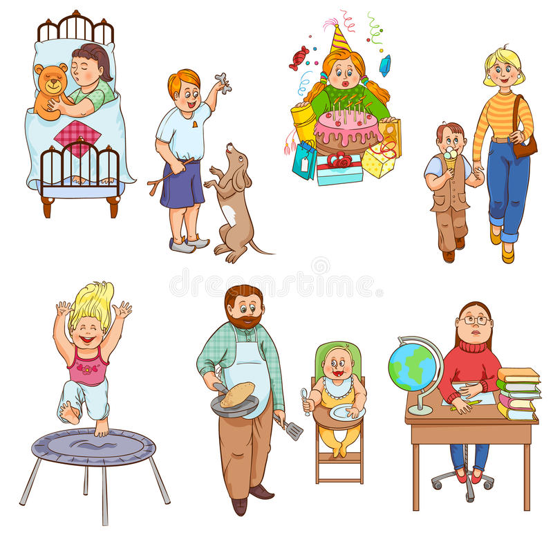 Pais com coleção dos ícones dos desenhos animados das crianças ilustração stock