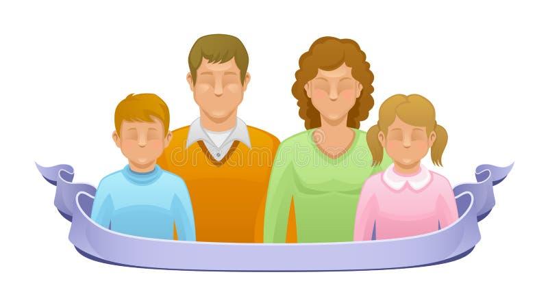 Pais com crianças ilustração stock